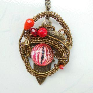 Red Evil Eye Ancient Armour Warrior Pendant Wire Wrap Artisan Jewelry Necklace