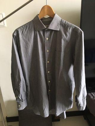 Kent & Curwen 深灰色細格子長袖襯衫