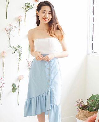 Pastel Blue Asymmetrical Skirt