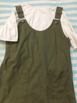 Green Lucu Mini Pinafore Gaun Mididress Dress Murah New Korea Japan Ulzzang Style