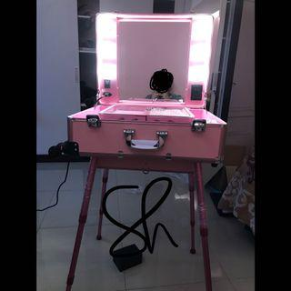 Preloved makeup case beauty case lampu dimmer stand kaki trolley