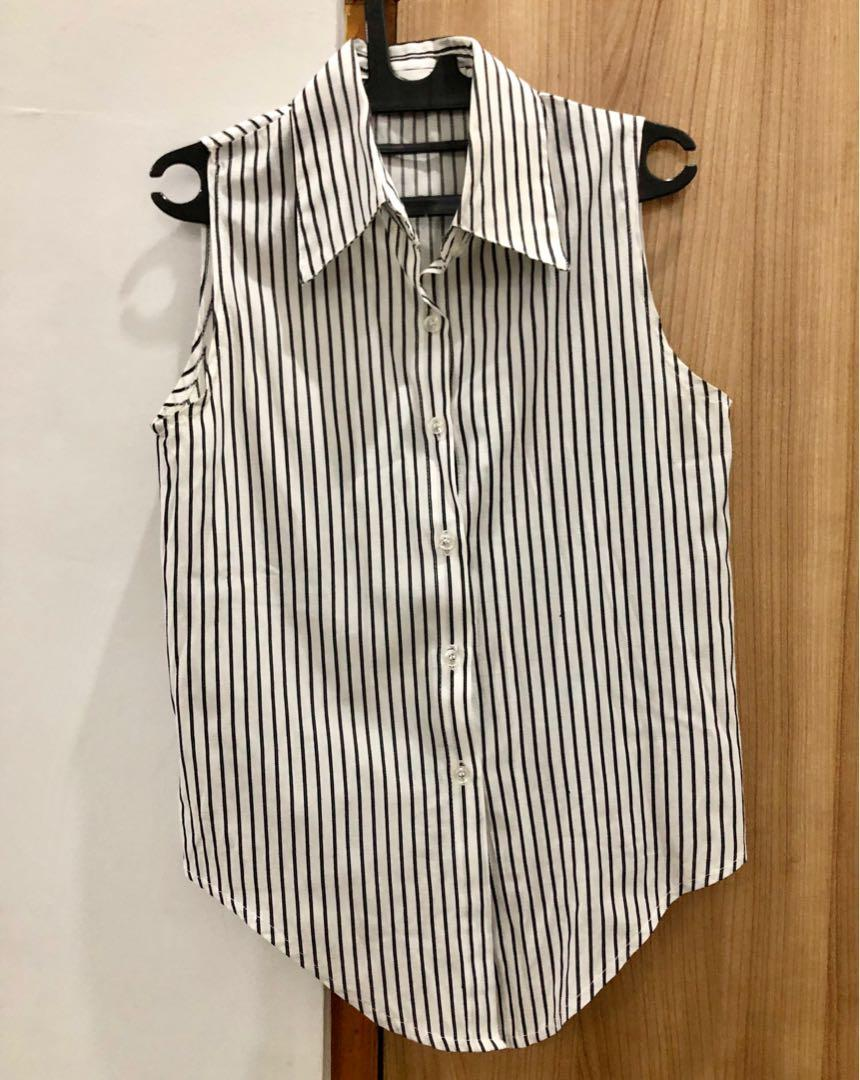 AVENUE Stripes Top, Kemeja Shirt white