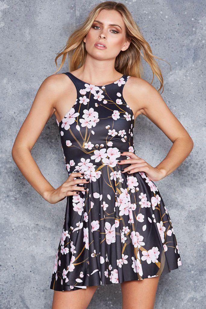 Black Milk Cherry Blossom Black Skater Dress Size Medium
