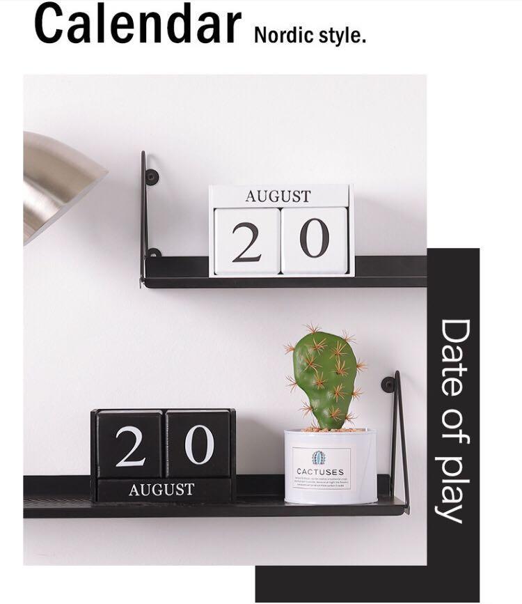 北歐DIY木頭日曆(白色)