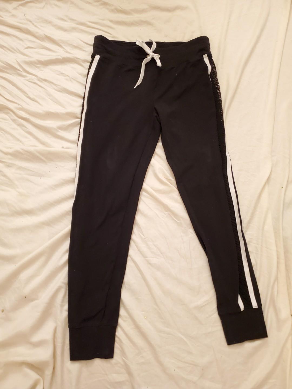 Forever 21 stripe fishnet pantel track pants  size large