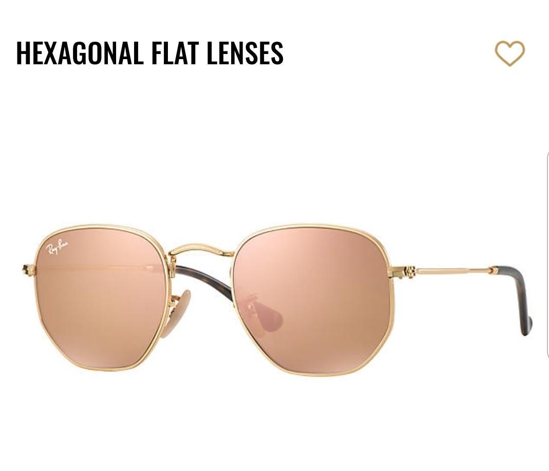 Genuine Rayban hexagon sunglasses pink mirror copper flash