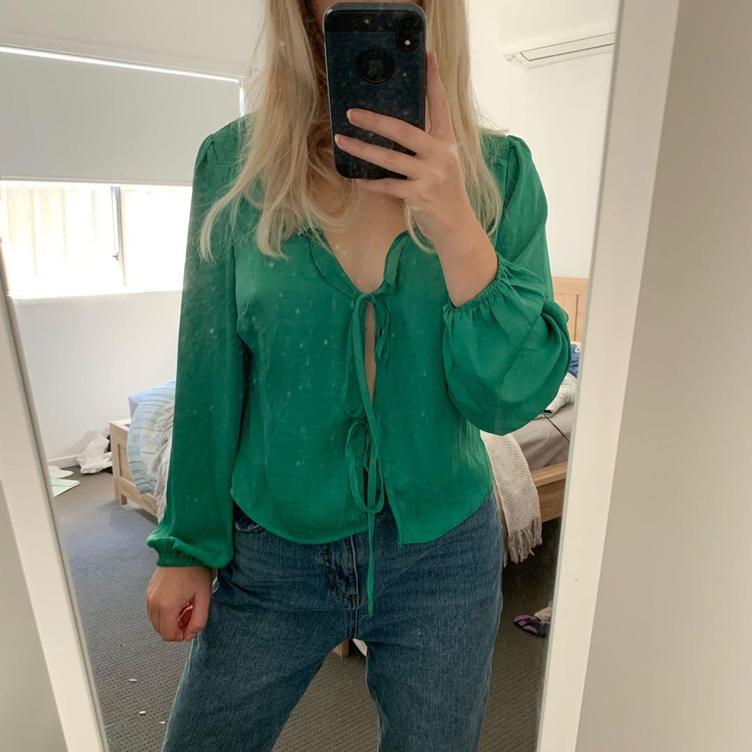 Glassons Green Tie Silk Top