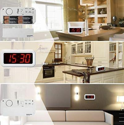 Kwanwa Desk//Wall LED Alarm Clock,AA Battery Powered Only,Can Be Placed Anywhere Without A Cumbersome Cord,White Colour