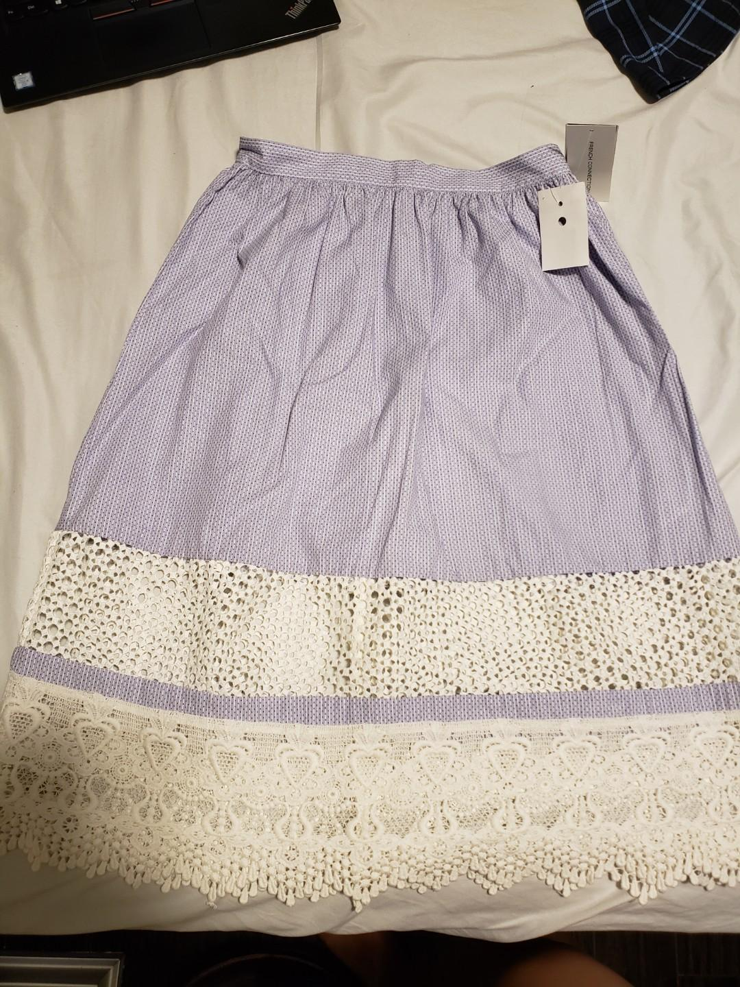 New! Sz 2 French Connection Skirt with crochet detail