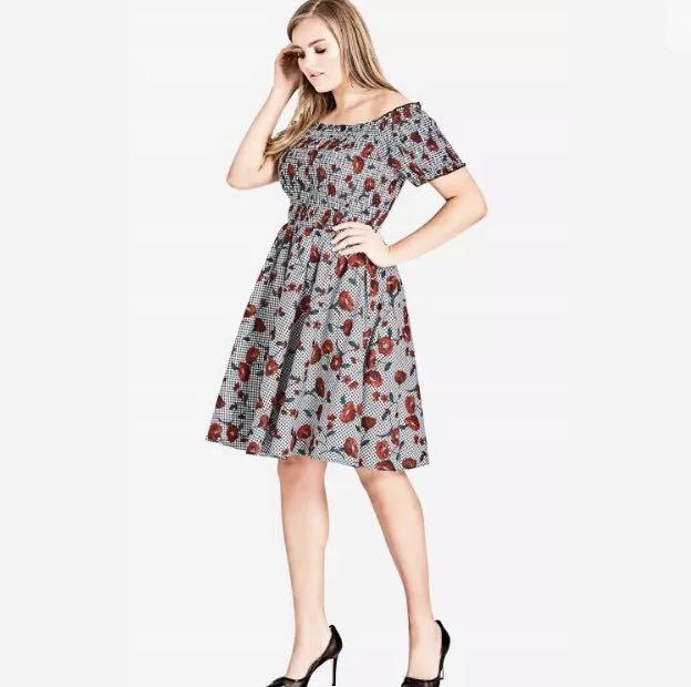 NWT City Chic Grey Red Floral Off Shoulder Dress sz 22 XL