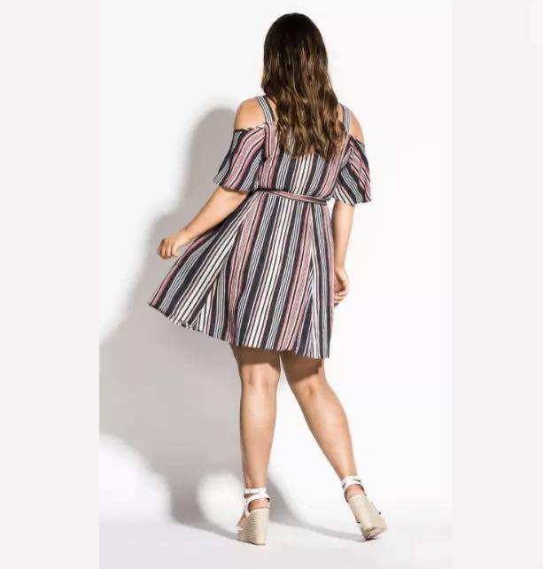 NWT City Chic pink navy Stripe Dress sz 16 20 Small Large Multi