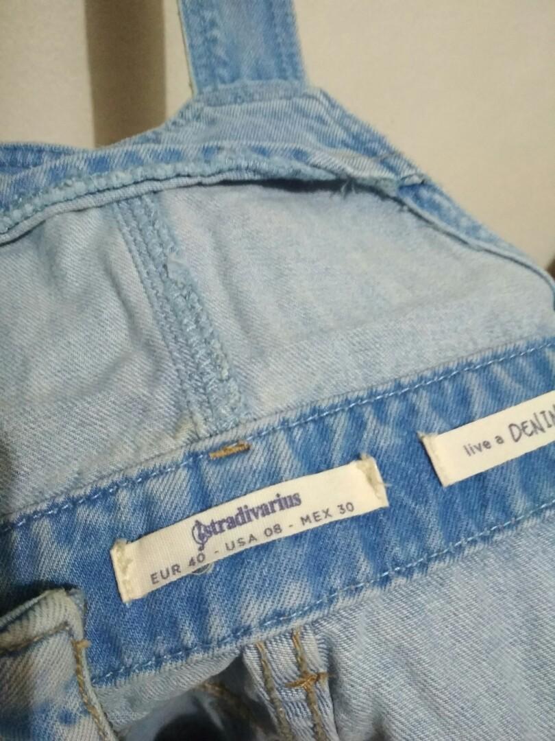 Overall Jeans, Celana Kodok, Stradivarius, Jumpsuit