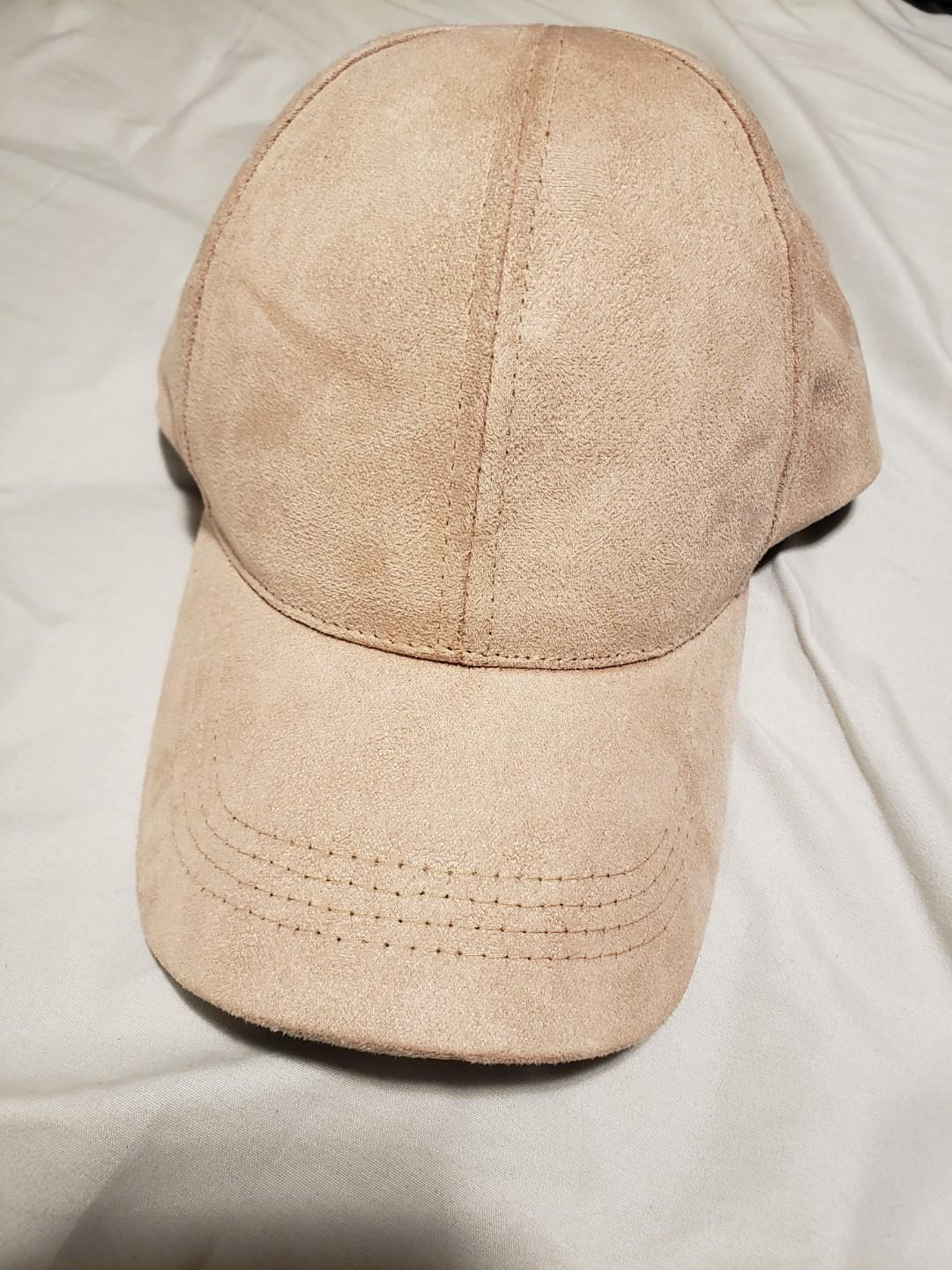 Pale pink suede baseball cap - barely worn, adjustable size