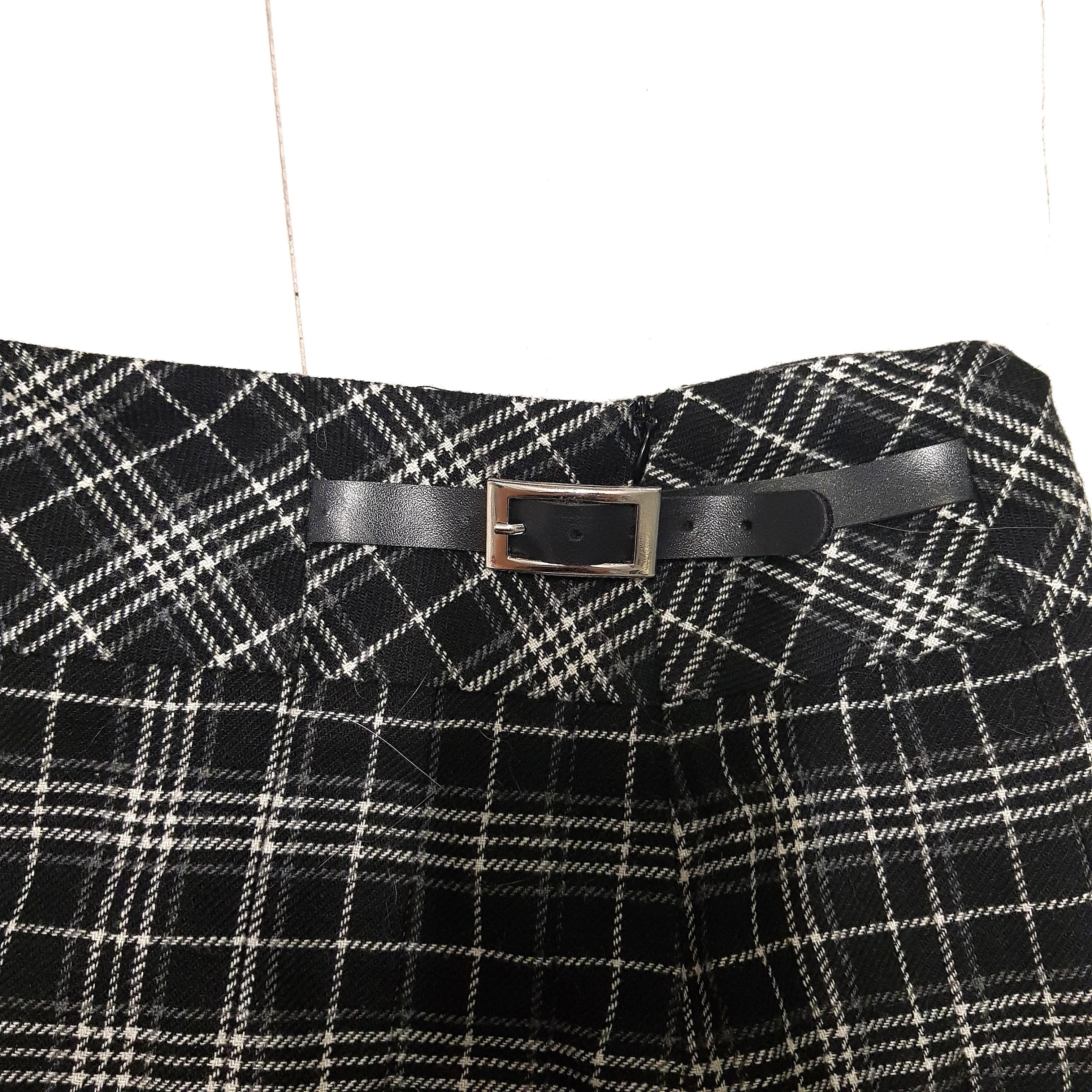 Portmans Black White Plaid Houndstooth Pleated Buckle Skirt
