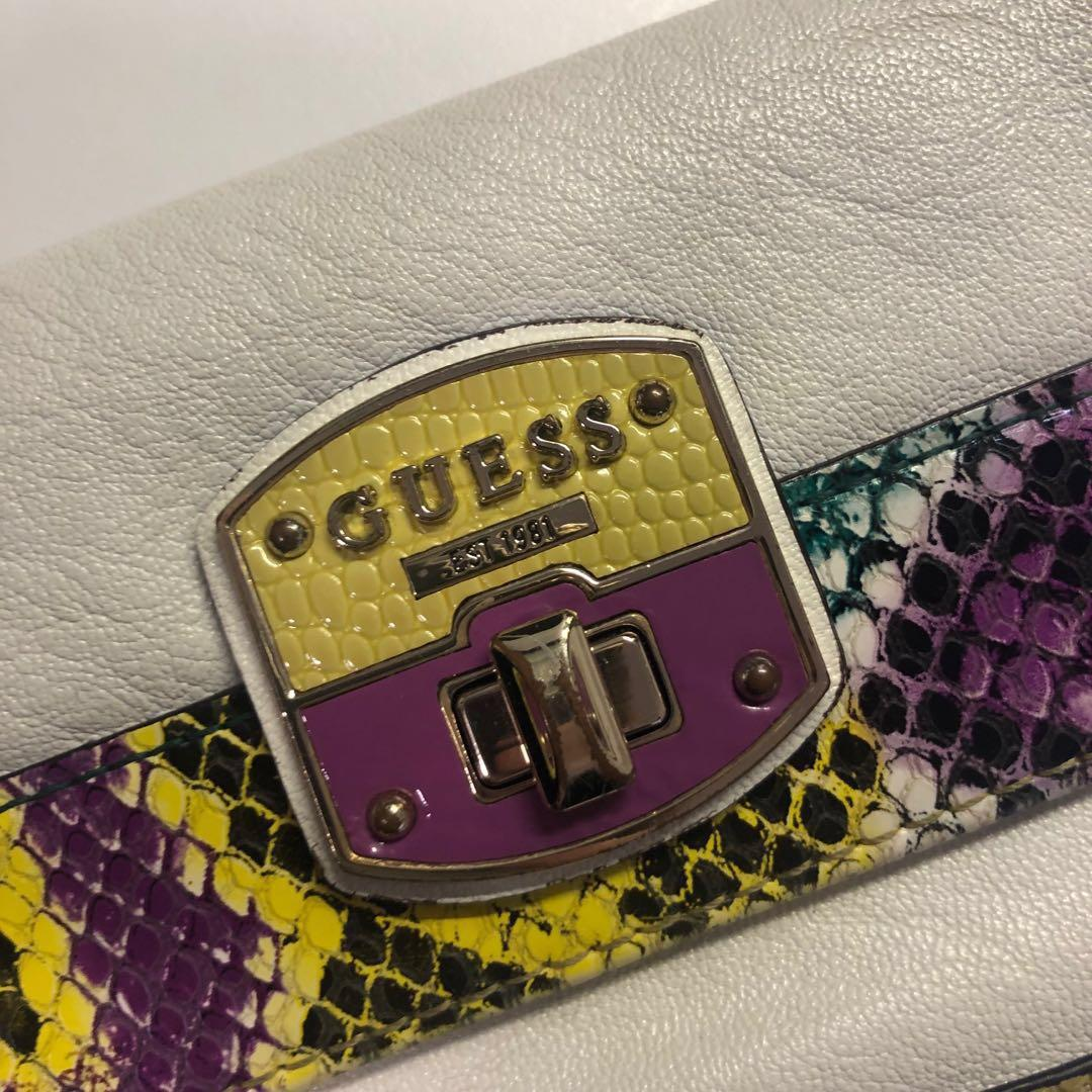 *REDUCED* AUTHENTIC GUESS WHITE YELLOW PURPLE WALLET FOLD