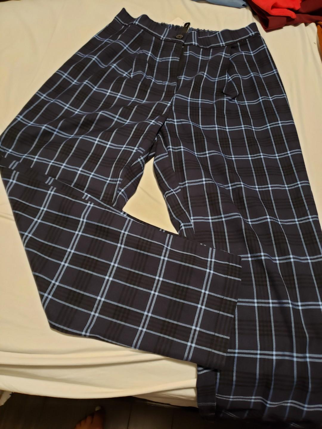 Sz 4 blue plaid pants, elastic waste, ankle length