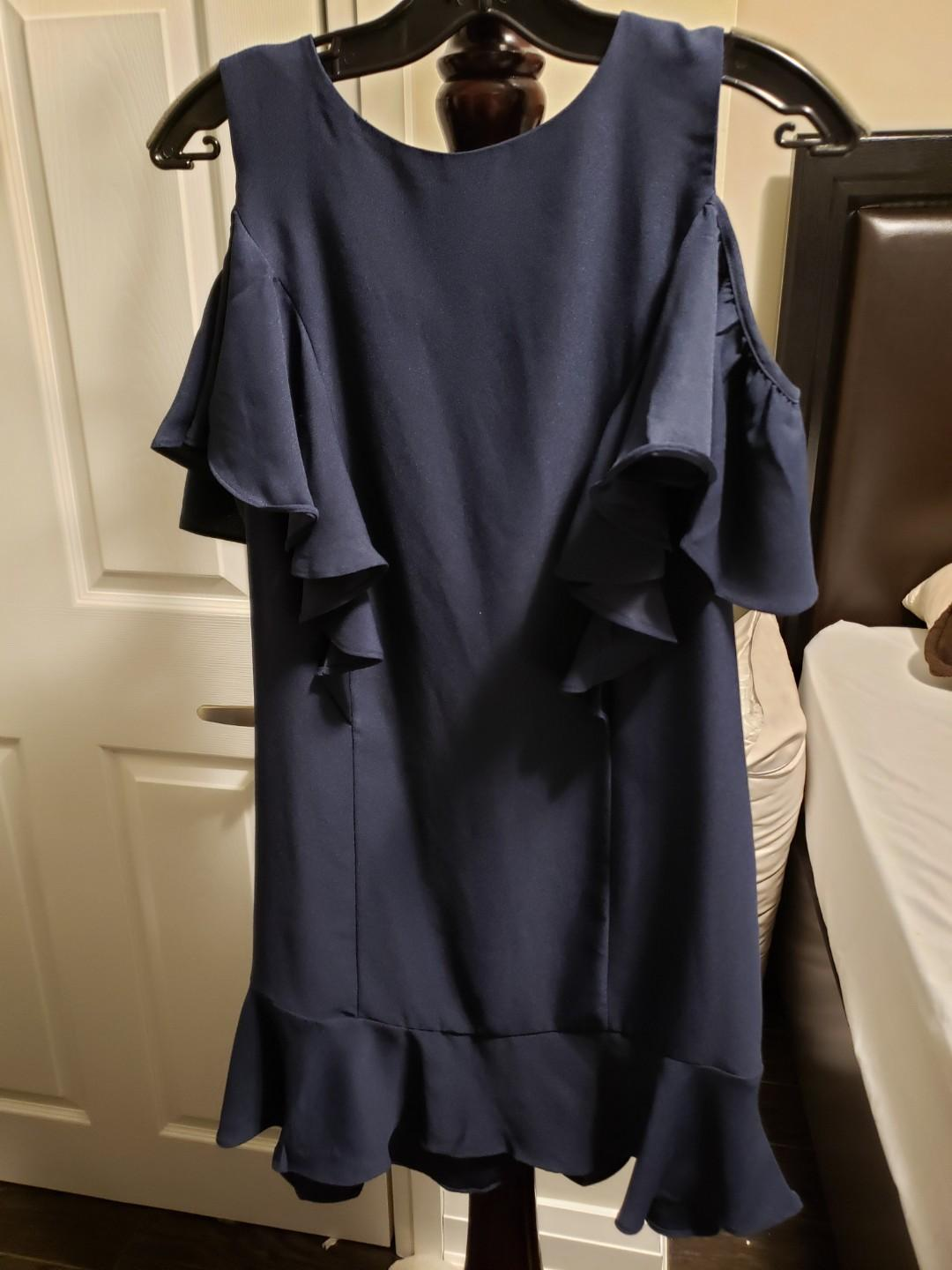 Sz 6 Mango Navy Dress, Cold Shoulders with ruffles