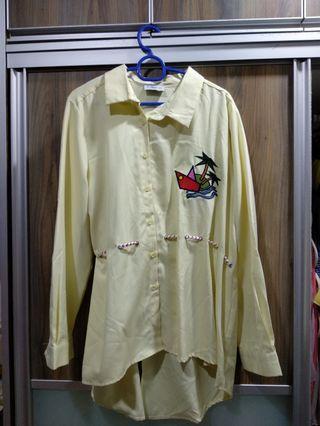 Agnes Asymmetric Collar Shirt in Light Yellow