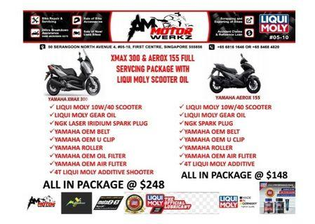 Aerox155  and Xmax full servicing and maintenance package