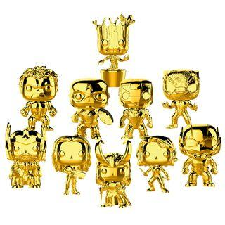Gold Chrome MARVEL Studios 10th Anniversary Funko PoP with spiderman and Dr Strange