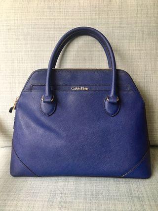 Calvin Klein navy blue leather satchel (tote)