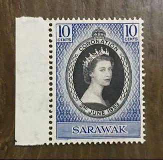 Malaya Sarawak Queen Eliz Coronation 1953 MNH superb fresh gum (minor fold mark)