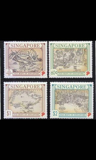 Singapore stamps 1996 old maps 4v MNH