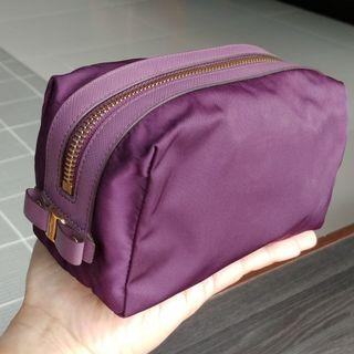 A Ferragamo Purple Travel Case Pouch Bag Cosmetic Auth Branded