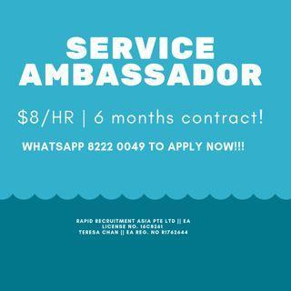 Service Ambassador Wanted!!! $8/hr!! Central/East