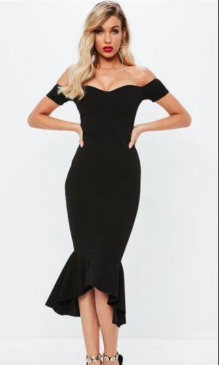 Missguided fishtail off shoulder dress