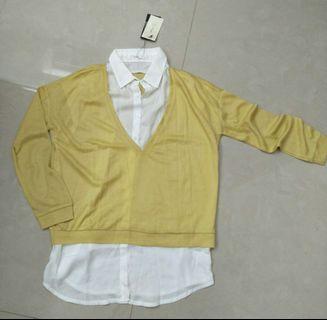 東京著衣 鵝黃色 透膚 假兩件式 襯衫 日系