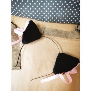 Fluffy Cat Ears Headband with Pink Ribbon & Gold Bell