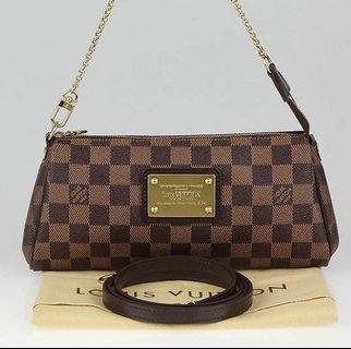 Authentic Louis Vuitton Damier Ebene Eva Clutch