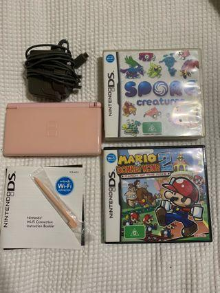 Pink Nintendo DS lite + Two Games