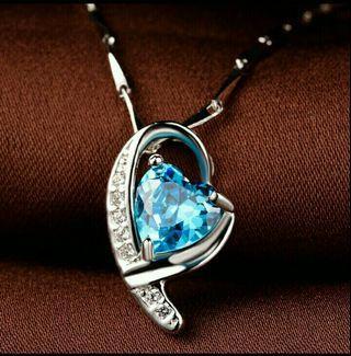 925純銀藍色愛心項鍊