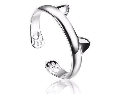 S925 Silver Plated Cat Ring Female Open Totoro Ear Paw Ring