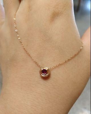 18k金紅寶石鑽石雙面項鏈
