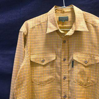 日本製🇯🇵日本古著復古格紋襯衫 黃色/棕色/米色