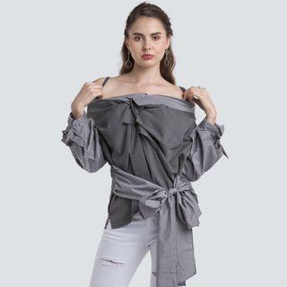 [FREE DELIVERY] BNWT Trendy Striped Sabrina in Grey