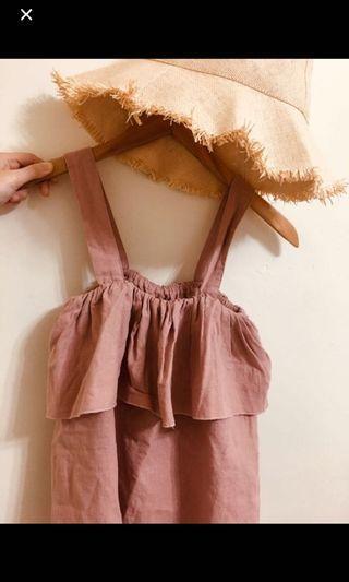 粉色平口背心
