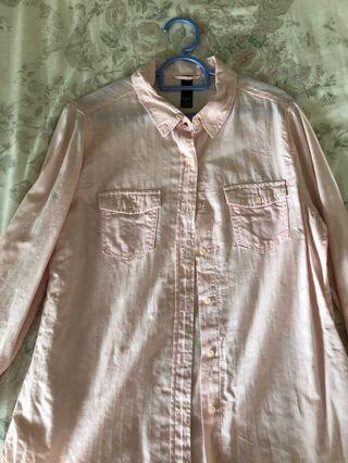Factorie pink long sleeved blouse (with pockets)