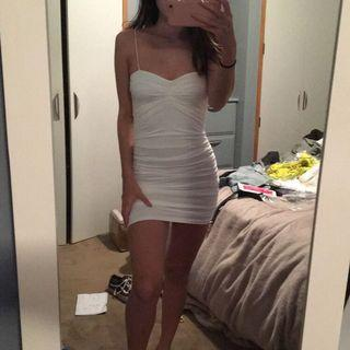 white bodycon ruched dress