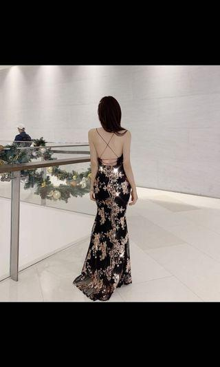 Brand New Sequin Oriental Slit Dinner Dress