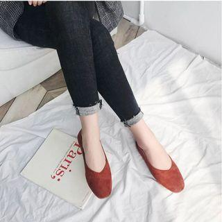 [size 37] basic suede flats in rust red