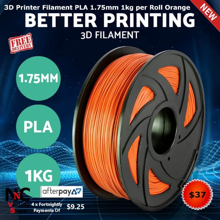 3D Printer Filament PLA 1.75mm 1kg Roll Accuracy 0.02mm Spool Orange