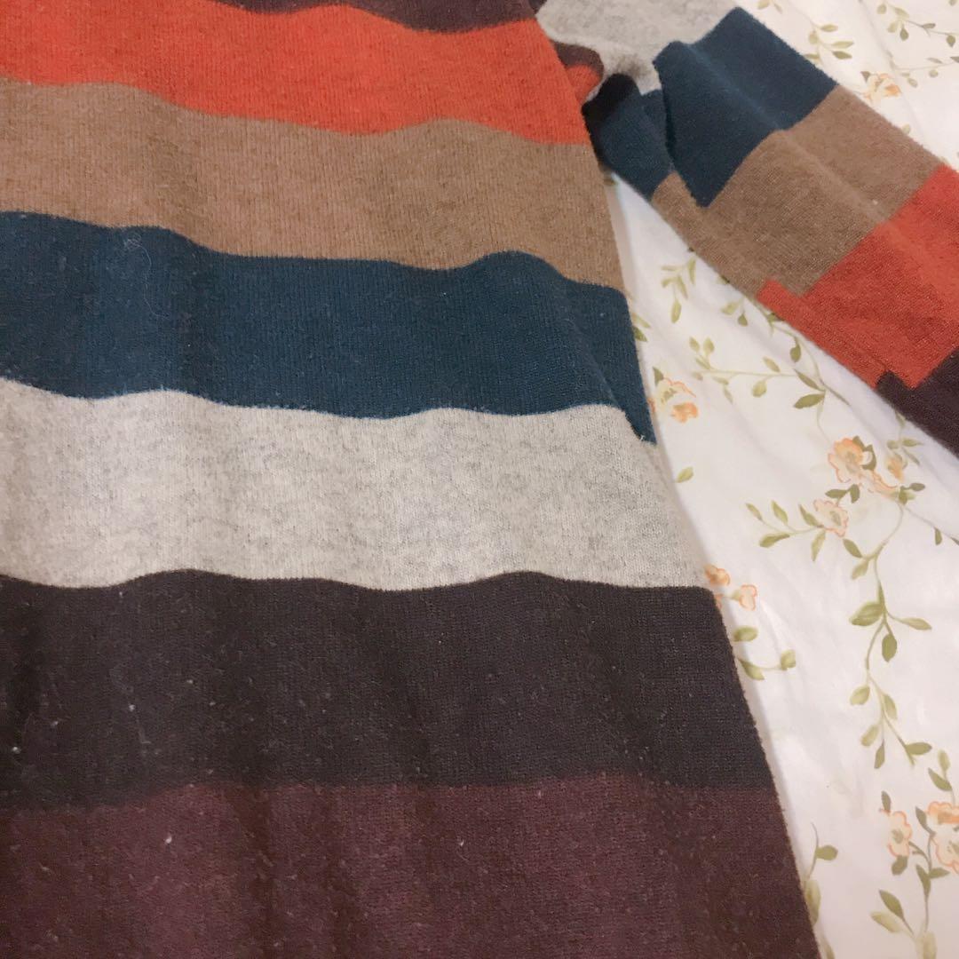 古著♥️大地色系粗條紋薄毛衣