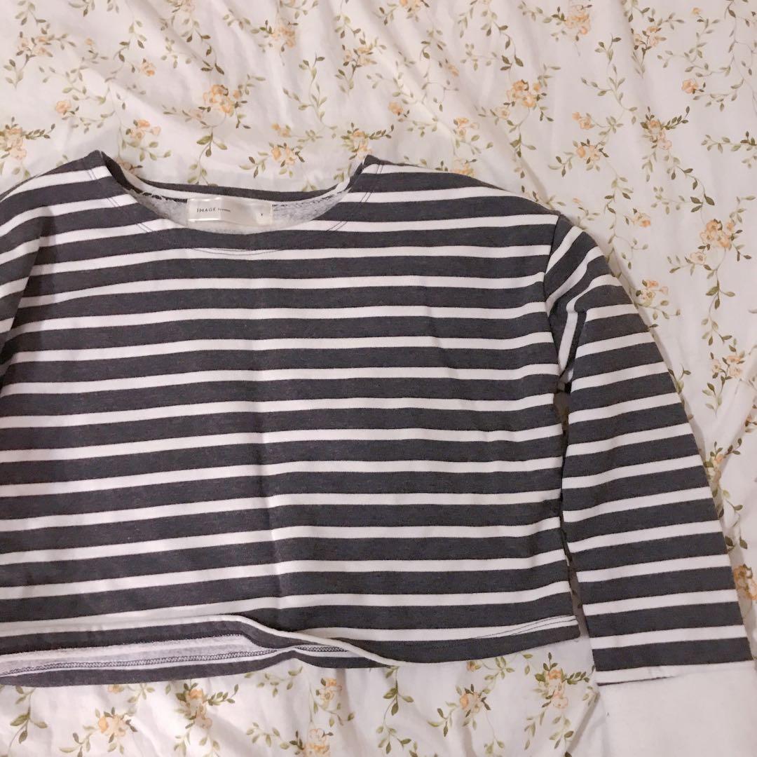 (共兩色)條紋短版長袖上衣