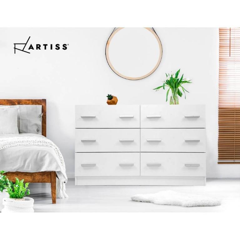 Artiss 6 Chest of Drawers Cabinet Dresser Tallboy Lowboy Storage Bedroom White