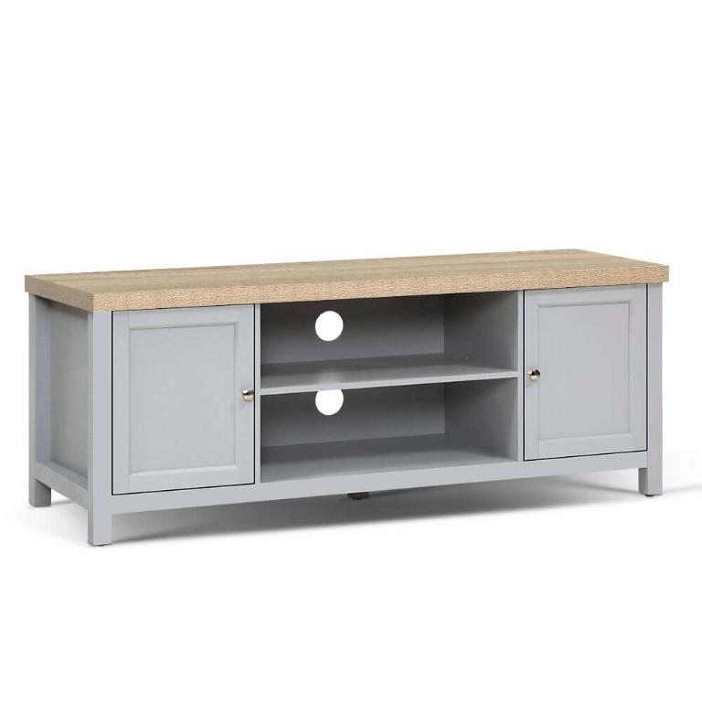 Artiss TV Cabinet Stand Entertainment Unit French Provincial Storage Shelf Grey Oak