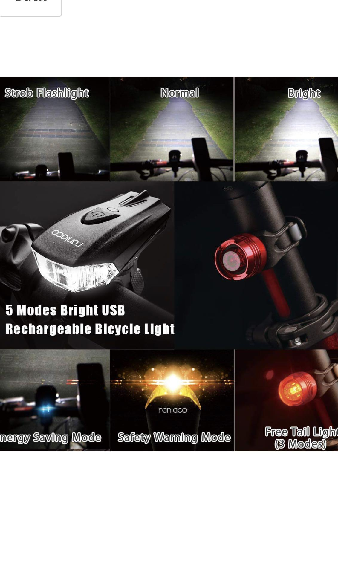 Bright 800 Lumens Bike Bicycle Headlight USB Rechargeable Front Rear light Sets